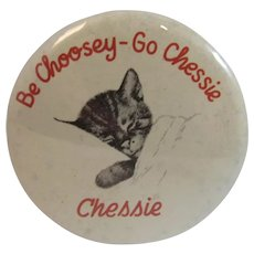 Chessie Celluloid Pocket Mirror C & O Railroad Chesapeake and Ohio Railway Advertising Be Choosey - Go Chessie The Sleeping Cat Kitten Purse Size