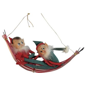 Knee Hugger Elves Pixie Elf Laying on Hammock Christmas Ornament Vintage Japan