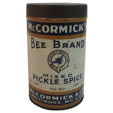 McCormick Bee Brand Mixed Pickle Spice Round Tin Vintage Kitchen
