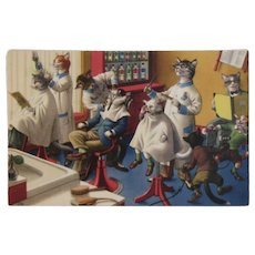 Alfred Mainzer Dressed Cats Postcard At the Barber 4880