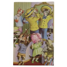 Alfred Mainzer Dressed Cats Postcard At the Millinery Trying on Hats 4951