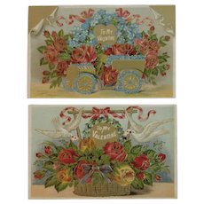 2 Unused Edwardian Valentine Postcards Flowers Doves and a Car Embossed