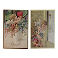 2 Edwardian Valentine Cupid Postcards Poems Poetry Embossed