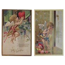 2 Edwardian Valentine Cupid Postcards Poems Poetry Embossed