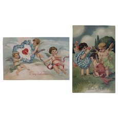 2 Edwardian German Valentine Cupid Postcards Flower Hearts Embossed Germany