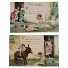 2 Edwardian German Valentine Cupid Postcards Poetry Donkey and Ladies IAP Embossed Germany