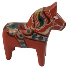 G.A. Olsson Swedish Dala Horse Hand Carved Wood Painted Folk Art Vintage Mid Century MCM Sweden