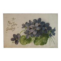 1909 German Silk New Year Greeting Postcard with Violets Germany