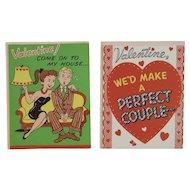 2 Unused Barker Valentine Greeting Cards 1950s Humorous Couple Romance