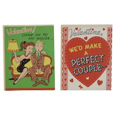 2 Unused Barker Valentine Greeting Cards 1950s Humorous Couple Romance