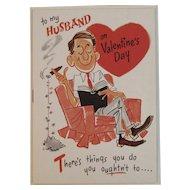 Unused Gibson Husband Valentine Greeting Card 1950s Humorous
