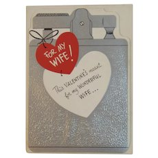 Unused Gibson Wife Valentine Greeting Card 1950s Humorous Lighter