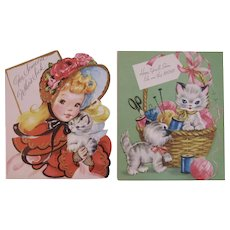 2 Unused Cat Get Well Greeting Cards 1950s Kitty Kitties Forget Me Not for Sick Friends