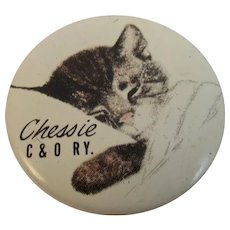 Compliments of Chessie The Sleeping Cat Pinback C & O Railroad Chesapeake and Ohio Railway Advertising Tin Litho Pin