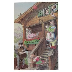 Alfred Mainzer Dressed Cats Postcard The Mailman is Here 4986 Belgium