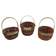 3 MBH Miniature Baskets Easter Christmas Mothers Day Hand Made Handwoven Handmade Woven Artist Signed and Dated