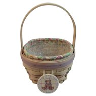 Longaberger Easter Basket with Liner Protector and Teddy Bear Hang Tag Century Celebration