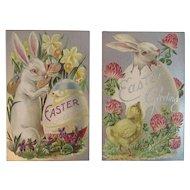 2 Unused Easter Postcards Bunny Eggs Flowers Embossed Silver Foil Rabbits Series