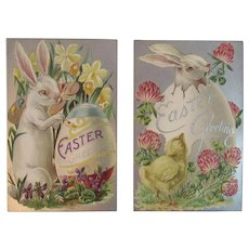 2 Unused Easter Postcards Bunny Eggs Flowers Embossed Silver Foil Rabbits Series