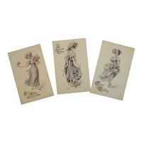 3 Ullman Unused Signed Easter Ladies Postcards Photo-Gelatine for Hand Coloring