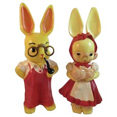 Huge Knickerbocker Easter Bunny Rabbit Banks Boy and Girl with Glasses in Red Overalls and Dress Vintage Hard Plastic
