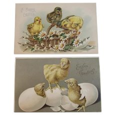 2 German Easter Postcards Chicks Eggs IAP Basket and Flowers Embossed and 1 Unused Germany