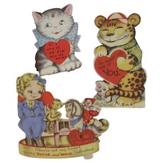 3 Vintage Valentines Monkey Kitty Cat Tiger Mechanical USA Clown Rocking Horse