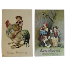 2 German Easter Postcards Angels with Child on Rooster by EAS and Children with Eggs by IAP Embossed Chromolithograph