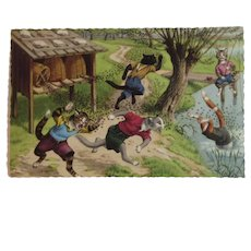 Alfred Mainzer Dressed Cats Postcard Bees at the Pond 4884 Belgium