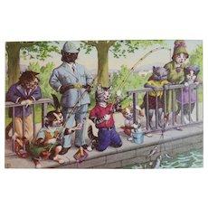 Alfred Mainzer Dressed Cats Postcard Policeman and Fishermen 4925 Belgium