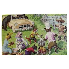 Alfred Mainzer Dressed Cats Postcard Having a Picnic with Bears 4922 Belgium