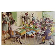 Alfred Mainzer Dressed Cats Postcard Schoolroom Chaos 4964 Belgium