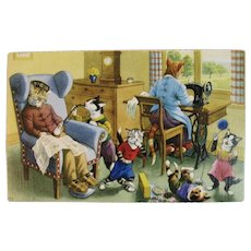Alfred Mainzer Dressed Cats Postcard 4861 While Grandpa is Sleeping