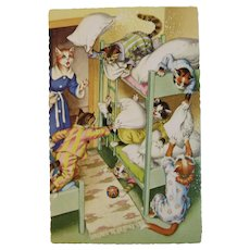 Alfred Mainzer Dressed Cats Postcard 4748 Pillow Fight Sleepover