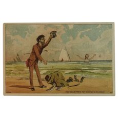 Dambmann Bros Victorian Trade Card Baltimore Maryland Fertilizer Arlington Guanos Advertising Humorous