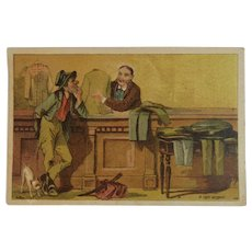 Dambmann Bros Victorian Trade Card Baltimore Maryland Fertilizer Arlington Guanos Advertising Humorous Hobo and Dog Buying Clothes