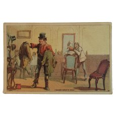 Dambmann Bros Victorian Trade Card Baltimore Maryland Fertilizer Arlington Guanos Advertising Humorous At the Barber