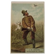 LeMaistre Victorian Trade Card Man and Dog Hunting Scene Humorous Philadelphia