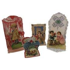 4 Victorian German Die Cut Miniature Pop Up Valentines Germany Pansies Doves Cherubs Children