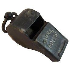German Signal Police Whistle With Original Cork Ball Metal Germany