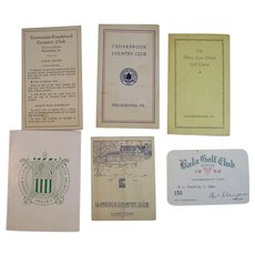 5 Golf Score Cards and One Membership Card from Philadelphia Area Courses and Country Clubs Vintage