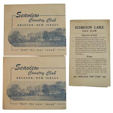 3 Golf Score Cards from New Jersey and New York Courses and Country Clubs Vintage Seaview Absecon and Schroon Lake