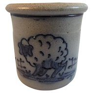 Rowe Pottery Woolly Lamb Blue Decorated Salt Glaze Crock 1988 Great for Easter
