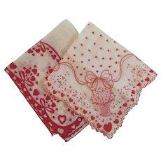 2 Valentine Hankies Handkerchiefs Vintage Red Hearts Flower Basket Scalloped Edge Hanky