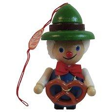 German Steinbach Wood Christmas Ornament Man with Bavarian Pretzel Hand Made Germany
