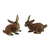2 Ucagco Brown Bunny Rabbits Bunnies Japan Ceramics Vintage Easter
