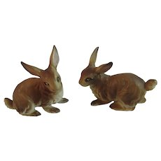 2 Ucagco Brown Bunny Rabbits Bunnies Japan Ceramics Vintage Easter