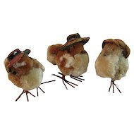 3 Chenille Easter Peeps Chicks with Hats Wire Legs Occupied Japan Labels