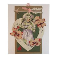Die Cut Hanging Valentine Card Layered with Girl in Purple Dress and Fan