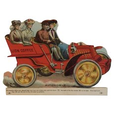 Lion Coffee Toy Series Automobile Die Cut Scrap Trade Card Advertising